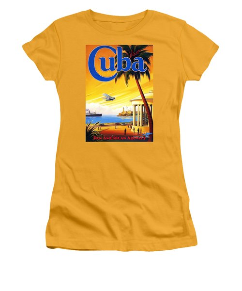 Women's T-Shirt (Junior Cut) featuring the painting Visit Cuba by Reproduction