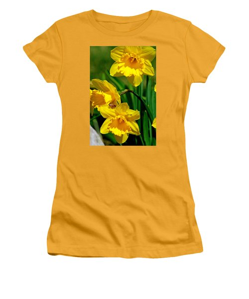 Women's T-Shirt (Junior Cut) featuring the photograph Yellow Daffodils And Honeybee by Kay Novy