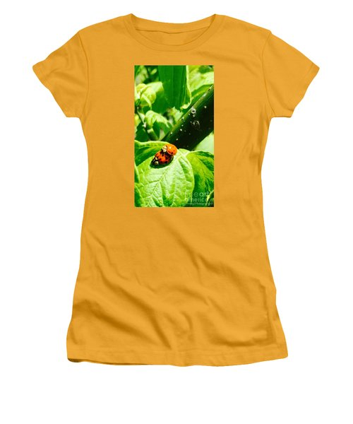 Women's T-Shirt (Junior Cut) featuring the photograph  Ladybugs In Love - No. 2016 by Joe Finney