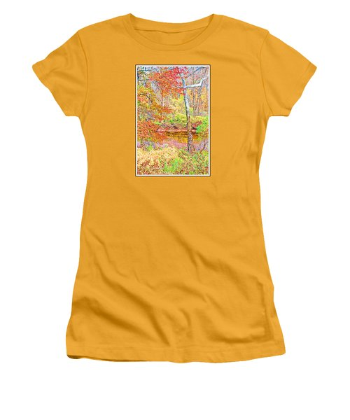 Women's T-Shirt (Junior Cut) featuring the photograph  Woods In Autumn Montgomery Cty Pennsylvania by A Gurmankin