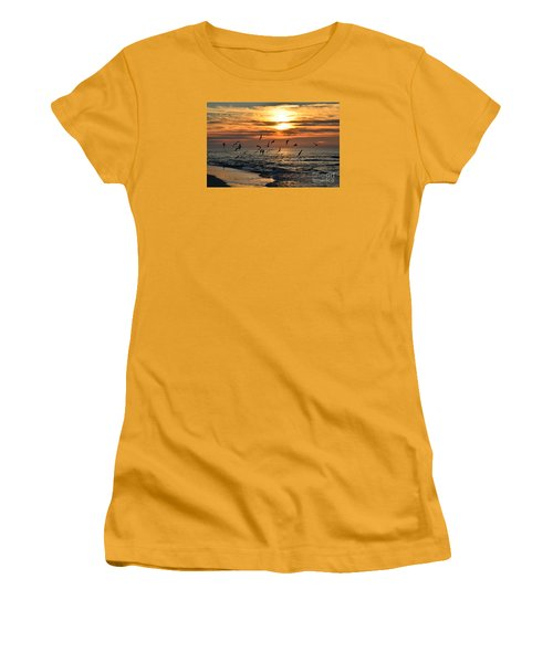 0221 Gang Of Gulls At Sunrise On Navarre Beach Women's T-Shirt (Athletic Fit)