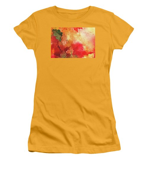Women's T-Shirt (Athletic Fit) featuring the painting Fall Impressions by Irina Sztukowski