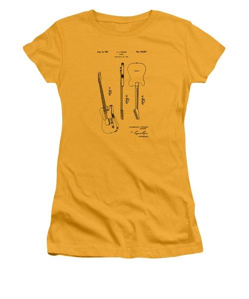 Fender 1951 Electric Guitar Patent Art - B  Women's T-Shirt (Junior Cut) by Barry Jones