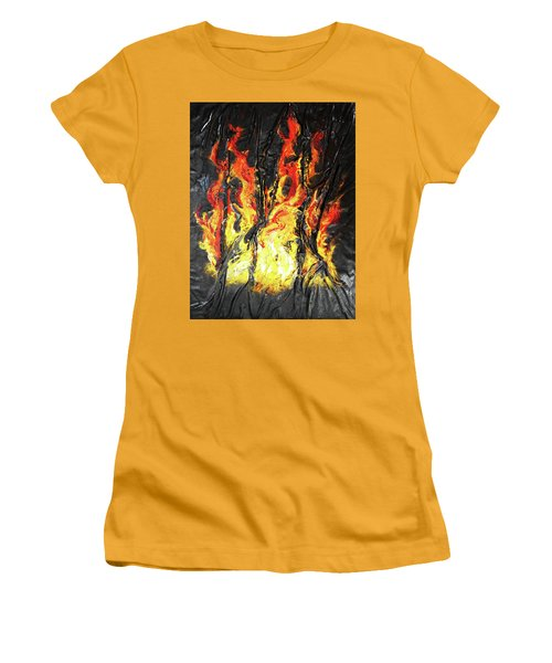 Women's T-Shirt (Junior Cut) featuring the mixed media Fire Too by Angela Stout