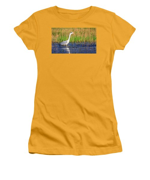 Grey Heron, Ardea Cinerea, In A Pond Women's T-Shirt (Athletic Fit)