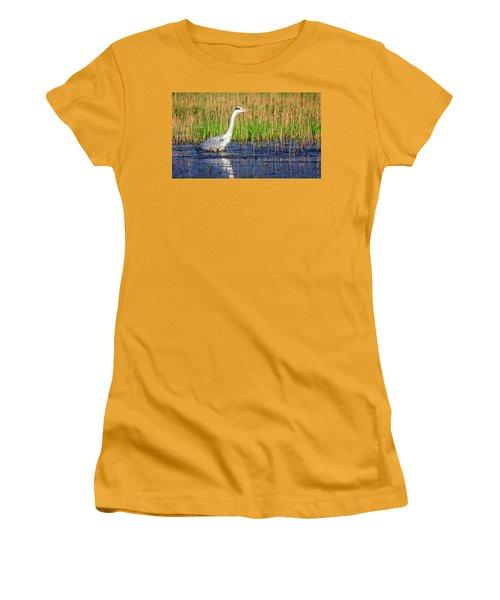 Grey Heron, Ardea Cinerea, In A Pond Women's T-Shirt (Athletic Fit)