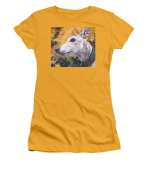 Women's T-Shirt (Junior Cut) featuring the painting Greyhound Portrait by Lee Ann Shepard