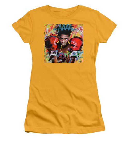 Women's T-Shirt (Junior Cut) featuring the painting Jean Michel Basquiat by Richard Day