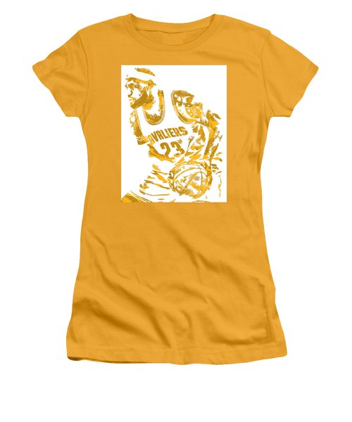 Lebron James Cleveland Cavaliers Pixel Art 7 Women's T-Shirt (Junior Cut) by Joe Hamilton