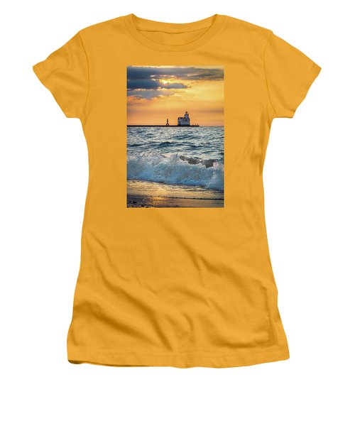 Women's T-Shirt (Junior Cut) featuring the photograph Morning Dance On The Beach by Bill Pevlor