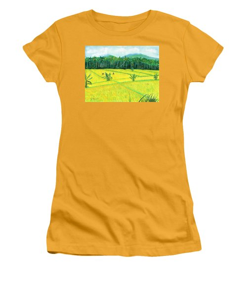 Women's T-Shirt (Junior Cut) featuring the painting On The Way To Ubud II Bali Indonesia by Melly Terpening