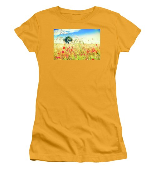 Women's T-Shirt (Athletic Fit) featuring the photograph Poppies With Tree In The Distance by Silvia Ganora