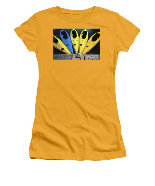 sports boat photography - Yellow Kayaks Women's T-Shirt (Athletic Fit)