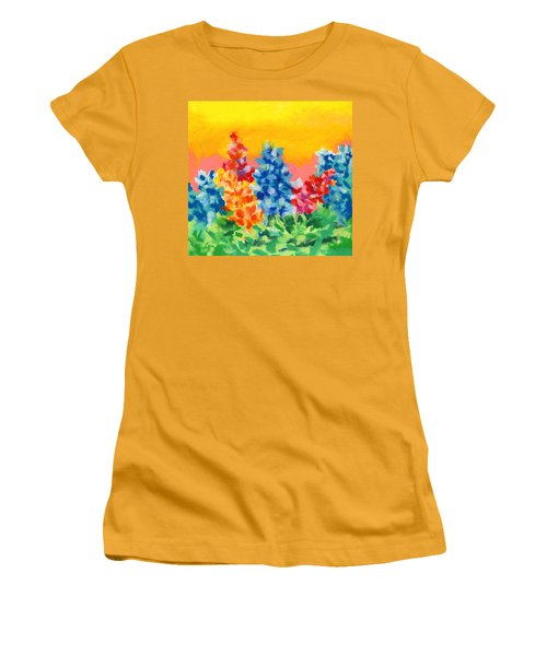 Women's T-Shirt (Junior Cut) featuring the painting Spring Wildflowers by Stephen Anderson