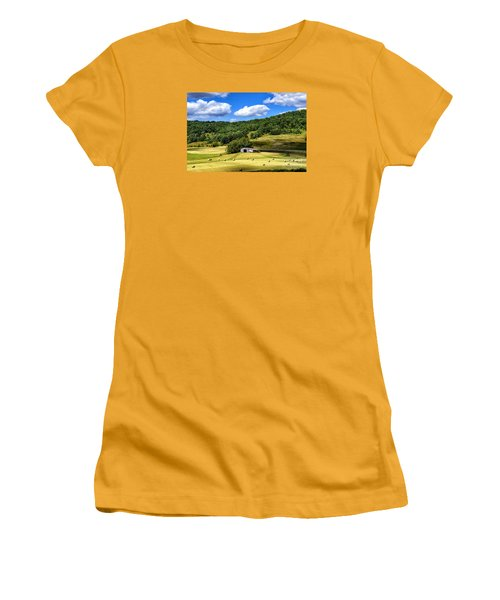 Summer Morning Hay Field Women's T-Shirt (Athletic Fit)