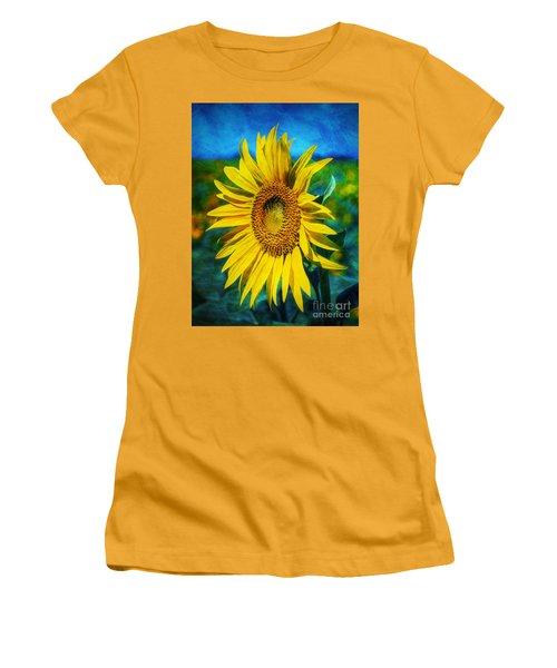 Women's T-Shirt (Junior Cut) featuring the digital art Sunflower by Ian Mitchell