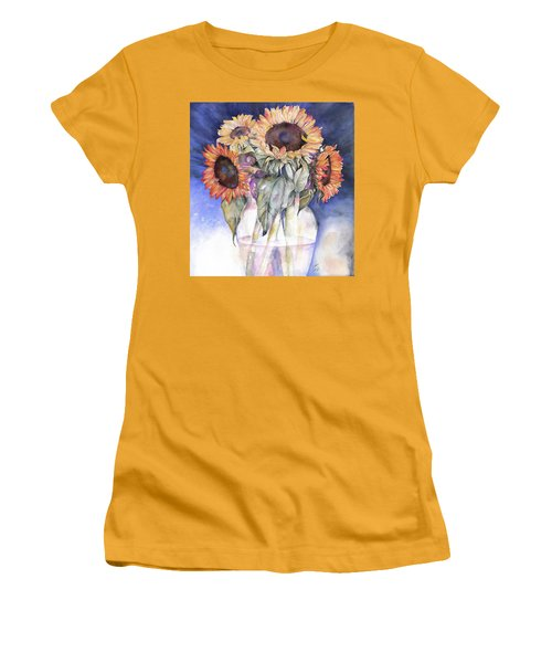 Women's T-Shirt (Junior Cut) featuring the painting Sunflowers by Nadine Dennis