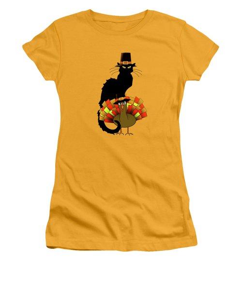 Thanksgiving Le Chat Noir With Turkey Pilgrim Women's T-Shirt (Athletic Fit)