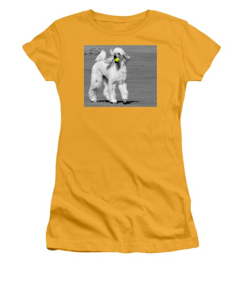 Pedicured Pup Hits The Beach Women's T-Shirt (Athletic Fit)