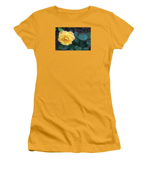 Women's T-Shirt (Junior Cut) featuring the painting Yellow Rose by Debra Crank