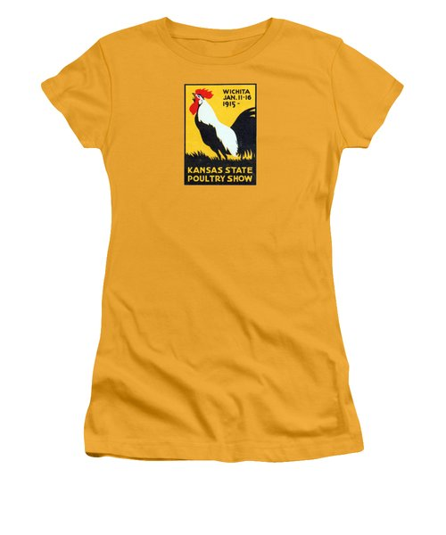 Women's T-Shirt (Junior Cut) featuring the painting 1915 Kansas Poultry Fair by Historic Image