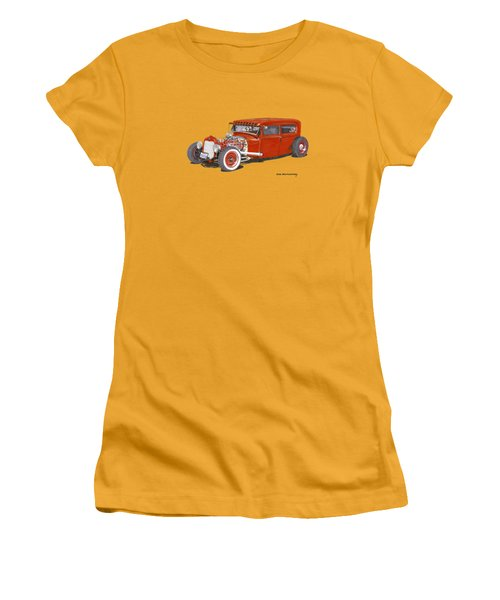 1928 Ford Tudor Jalopy Ratrod Women's T-Shirt (Junior Cut) by Jack Pumphrey