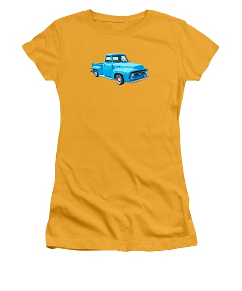 1955 Ford F100 Blue Pickup Truck Canvas Women's T-Shirt (Junior Cut) by Keith Webber Jr