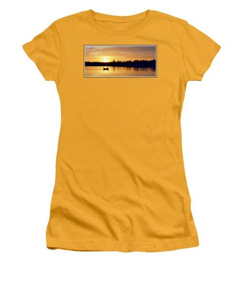 Fishermen On A Lake At Sunset Women's T-Shirt (Junior Cut) by A Gurmankin