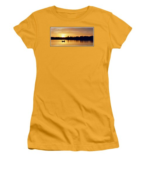 Fishermen On A Lake At Sunset Women's T-Shirt (Athletic Fit)
