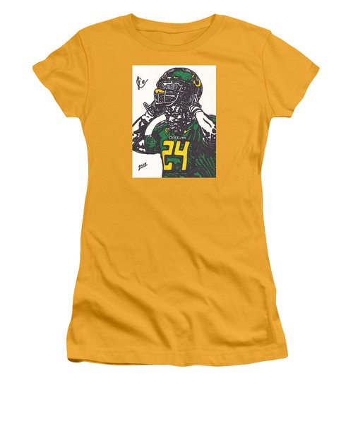 Women's T-Shirt (Junior Cut) featuring the drawing Kenjon Barner 1 by Jeremiah Colley
