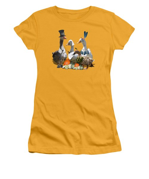 Thanksgiving Ducks Women's T-Shirt (Junior Cut) by Gravityx9 Designs