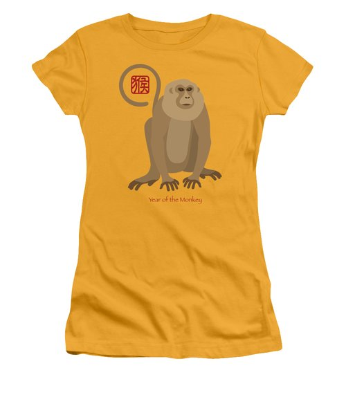 2016 Chinese New Year Of The Monkey Women's T-Shirt (Junior Cut) by Jit Lim