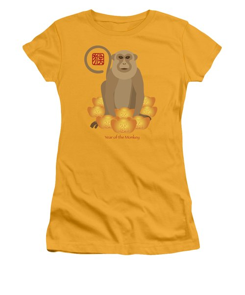 2016 Chinese Year Of The Monkey With Gold Bars Women's T-Shirt (Junior Cut) by Jit Lim