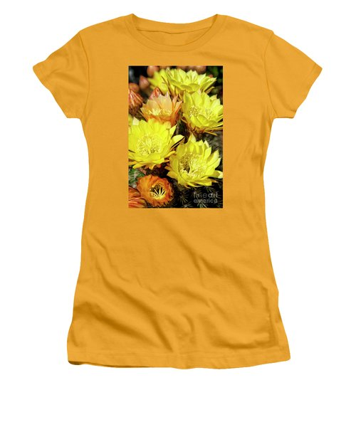 Yellow Cactus Flowers Women's T-Shirt (Athletic Fit)