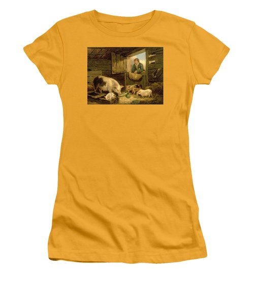 A Boy Looking Into A Pig Sty Women's T-Shirt (Junior Cut) by George Morland