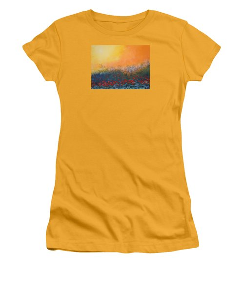 Women's T-Shirt (Junior Cut) featuring the painting A Field In Bloom by Dan Whittemore