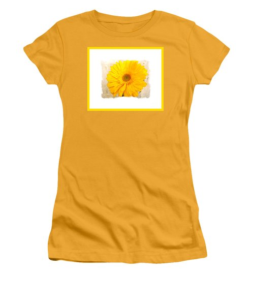 A Grand Yellow Gerber Women's T-Shirt (Junior Cut) by Marsha Heiken
