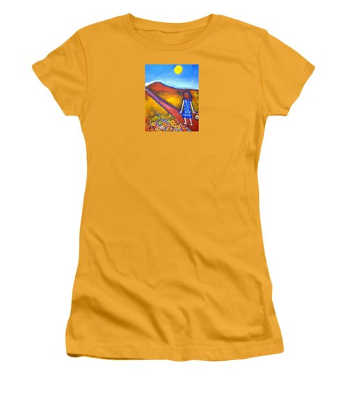 Women's T-Shirt (Junior Cut) featuring the painting A Sunny Path by Winsome Gunning