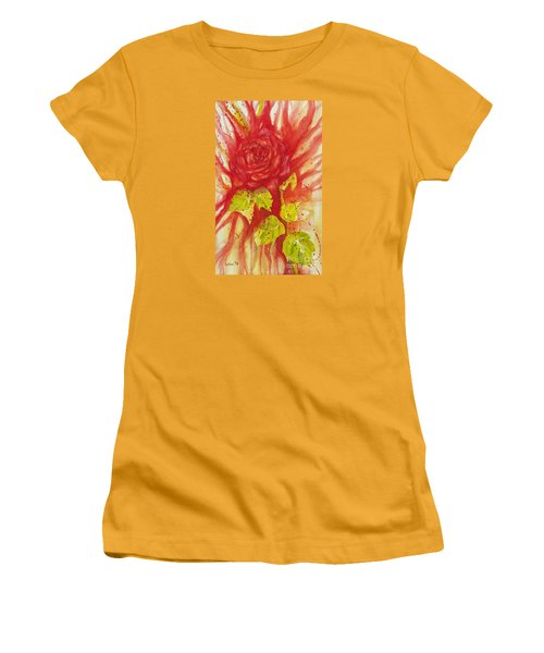 Women's T-Shirt (Junior Cut) featuring the painting A Wounded Rose by Kathleen Pio