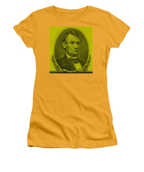 Women's T-Shirt (Athletic Fit) featuring the photograph Abe On The 5 Yellow by Rob Hans