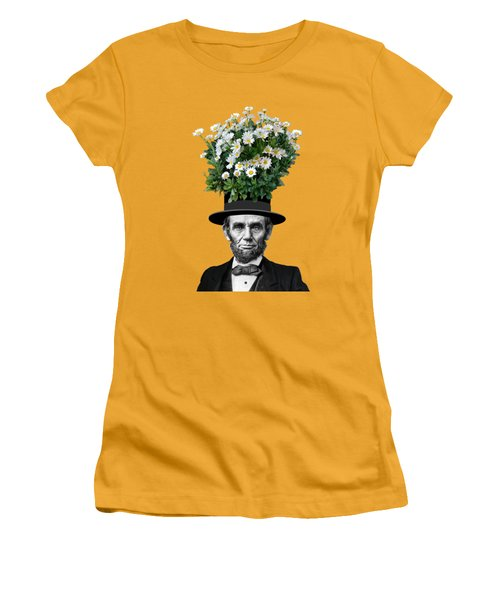 Abraham Lincoln Presidential Daisies Women's T-Shirt (Junior Cut) by Garaga Designs