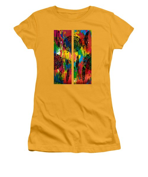 Abstract Boho Design - Diptych By Nikki And Kaye Menner Women's T-Shirt (Athletic Fit)