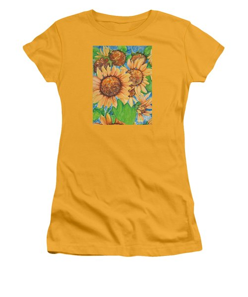 Women's T-Shirt (Junior Cut) featuring the painting Abstract Sunflowers by Chrisann Ellis