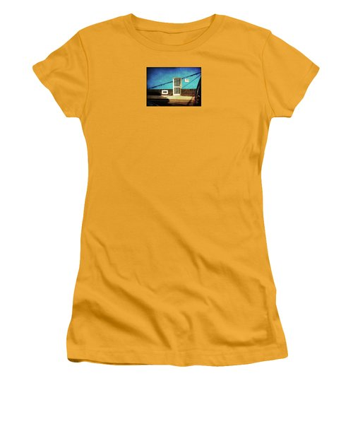 Women's T-Shirt (Athletic Fit) featuring the photograph Alcala Blue Wall White Door by Anne Kotan