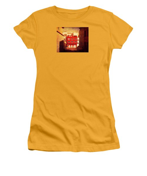 Women's T-Shirt (Athletic Fit) featuring the photograph Alcala Red House No1 by Anne Kotan