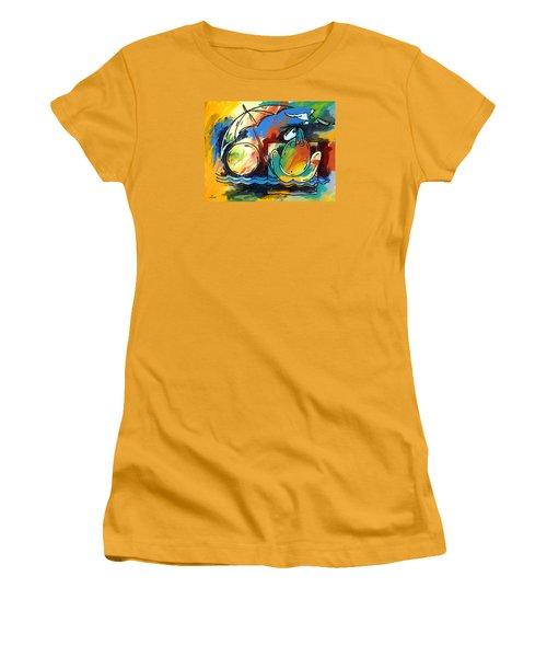 Ameeba- Woman On Beach Women's T-Shirt (Athletic Fit)