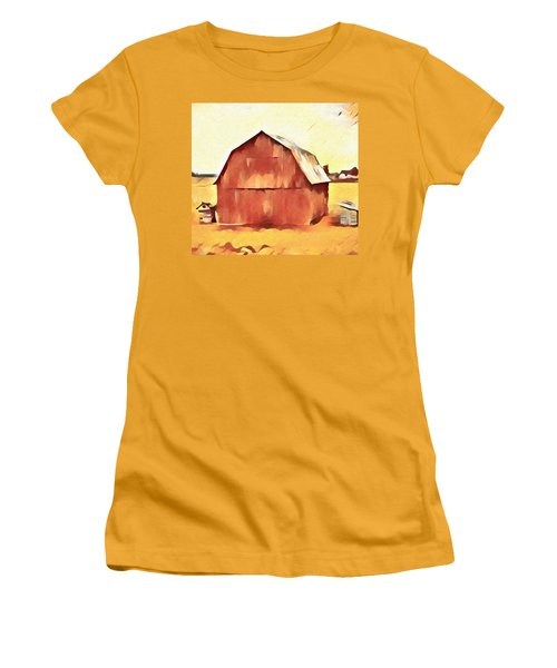 Women's T-Shirt (Junior Cut) featuring the painting American Gothic Red Barn by Dan Sproul