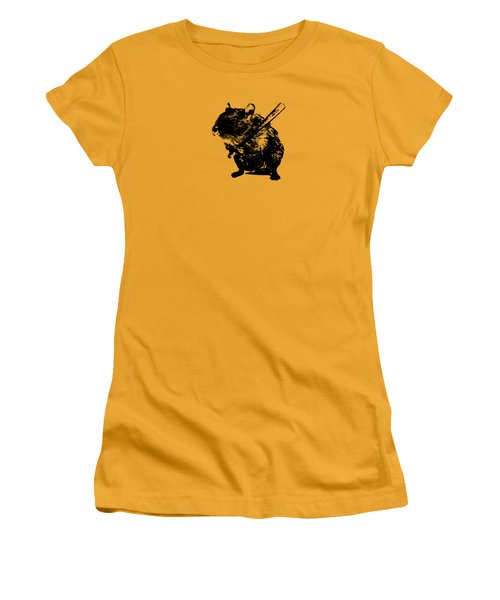 Angry Street Art Mouse  Hamster Baseball Edit  Women's T-Shirt (Athletic Fit)