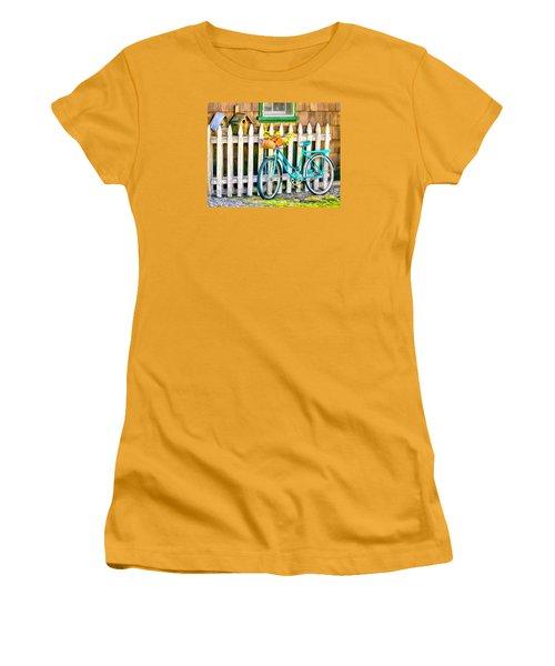 Aqua Antique Bicycle Along Fence Women's T-Shirt (Junior Cut) by Betty Denise