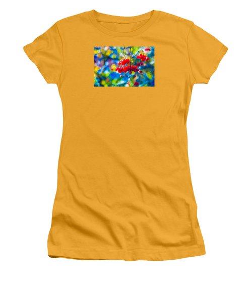 Women's T-Shirt (Junior Cut) featuring the photograph Arrowwood Berries Abstract by Alexander Senin